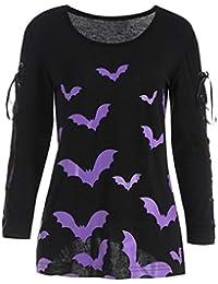 Camiseta con Estampado de murciélagos de Moda de Halloween
