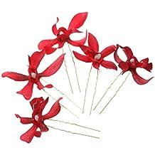 5x Horquillas de Flores Guirnalda Cilp de Pelo Adorno para Cabello Decoración Nupcial Boda