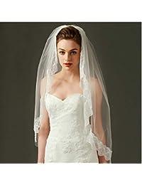 84dc426c11b7 DXYAN Velo Corto in Pizzo Corto Garza Media Lunghezza Singolo Strato  Semplice Elegante Velo da Sposa con…