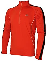 More Mile Mens Hi Viz Half Zip Long Sleeve Running Top