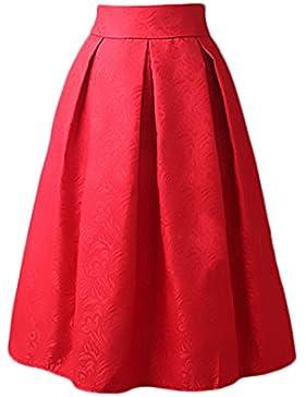 Falda Mujer Elegantes Falda Plisada Cintura Alta Vintage Años 50 A-Line Faldas Midi Moda Jacquard Falda Medium...