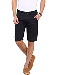 Showoff Men's Solid Navy Blue Chino Shorts