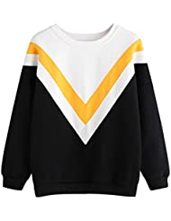 Reaso Femmes Hoodie Sweatshirt Chic Pull Casual Pullover Mode Tops Blouse Cou Rond Manches Longues Blouson Elegant Sweat a Capuche Streetwear Coton Shirt