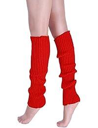 Amison Nueva Mujeres Cálido Invierno Clásico calentadores de piernas tejer calcetines, rojo