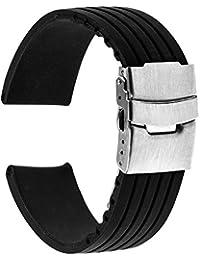 TRUMiRR 18mm Caucho de silicona Watch banda de acero inoxidable pulsera de la hebilla de la correa del reloj para Huawei, Asus ZenWatch 2 WI502Q de la Mujer, Withings Activite / Acero / Pop