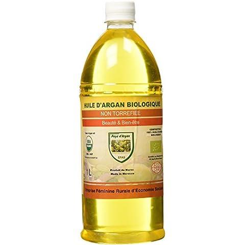 1 Litro - Aceite de Argán BIO 100% Puro conCertificado Ecológico Ecocertprimera Presión en Fríopara Pelo & Piel - El Original de