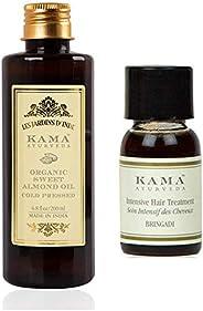 Kama Ayurveda Organic Sweet Almond Oil 200ml, Bringadi Intensive Hair Treatment 8ml Combo