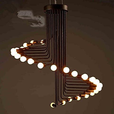 FWEF Personalidad de viento Retro industrial espiral Metal Lámpara Simple creativa lámpara salón Cafe Bar la araña de la escalera de espiral 80 *