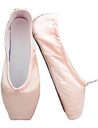 Skyrocket Chaussures de Ballet Classique Pointe Satin Ballet Chaussure de Danse avec Capuchons d'orteils Protecteurs en Gel de Silicone et Ruban