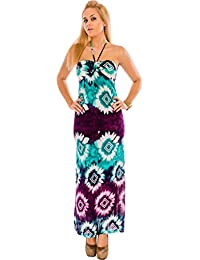 Maxi Dresses for Women Summer - Beach Evening V Neck Casual Dress - Floral Halter Neck