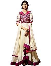 Kings Fashion Bazaar Women Faux Georgette Anarkali Semi-Stitched Salwar Suit (GATMPU10796_Pink And Cream_Free...