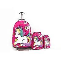Kids'School trolley Rolling travel bag unicorn set of 3 17inch 3-12years olds