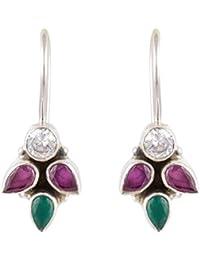Handicraft Fashion Point 92.5 Sterling Silver Ruby Emerald Zircon Silver Hook Earrings for Women