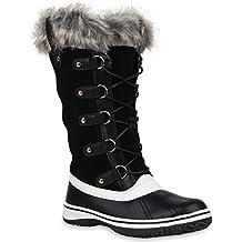 Damen Winterstiefel Warm Gefütterte Stiefel Strass Winter Boots Schnee Schuhe Winterschuhe Profilsohle Snowboots Flandell