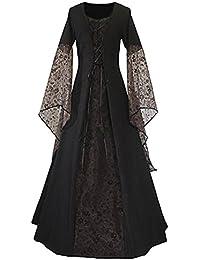 Tollstore Damen Mittelalter Kleid, Mittelalter Kostüm Renaissance Kleid mit Spitze, Schnüren Sich Vintage Bodenlang Kleid