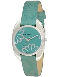 Naf Naf - N10222-207 - Louane - Montre Femme - Quartz Analogique - Cadran Vert - Bracelet Cuir Vert