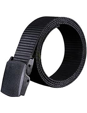 WINOMO Cinturón de Nylon con Hebilla Plástica para Hombre (Negro)