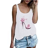 Camiseta de Tirantes sin Mangas de Lino para Mujer SUNNSEAN Chaleco Suelto de Verano Camiseta sin Mangas Estampado de Tacones de Cristal Ocasional Casual Camisas Verano de Playa Tops Chaleco
