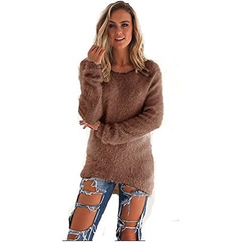 Longra Mujeres sólido suéteres casuales de manga larga de los puentes