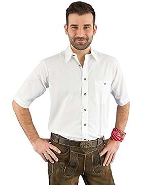 Lekra Trachtenhemd Herren kurzarm Set Hemd ku Arm weiss Weiß