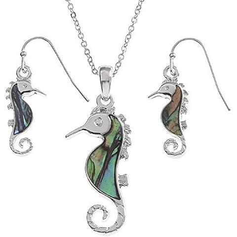 Abalone Paua cavalluccio marino argento collana ciondolo
