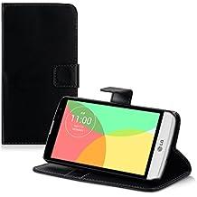 kwmobile Funda para LG L Bello - Wallet Case plegable de cuero sintético - Cover con tapa tarjetero y soporte en negro