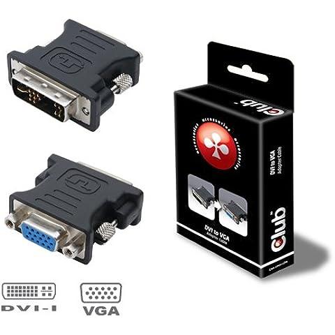 CLUB3D DVI to VGA video converter/adapter - Adaptador para cable (DVI-I, VGA, Macho/hembra, Negro, 1920 x 1200 Pixeles, 4