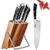 Aicok Ensemble de couteaux, Couteaux de chef avec bloc en bois, Set de couteaux professionnels, Lot de couteaux en acier inoxydable à haute teneur avec support en bois, 6 pièces.