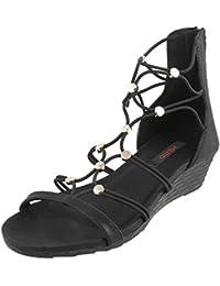 METRO Women BLACK Synthetic Gladiators ( 33-9707 ) 33-9707-11-BLACK