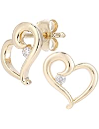 Naava Women's 9 ct Yellow Gold Diamond Hearts Stud Earrings