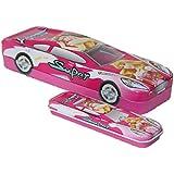 Parteet Multicolour Cartoon Printed Car Shape Matal Pencil Box With Small Car For Kids(Princes)