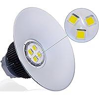 SALA sala lampada LED Faretto Faro per illuminazione industriale e sala luce fabbriche (200Watt, Angolo 120°, per soffitto, schermo 50cm, Alluminio) Bianco Neutro