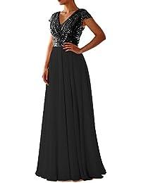 a29e2055723a LuckyShe Damen Lang Elegant Pailletten Chiffon Brautjungfernkleid  Abendkleider Ballkleid für Hochzeitsfeier