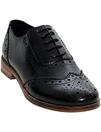 0e73daf06 Womens Ladies Genuine Leather Round Toe Lace up Smart Formal Office Brogues  Shoes UK Sizes 3