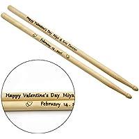 Baquetas personalizadas, baquetas de tambor grabadas con láser, hechas de arce resistente y de alta calidad. gran valor para el dinero regalo memorable