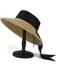 Gr Elegant Lady Sunhat 100% Weizenstroh Sommer Frauen Strand Sonnenhut (Color : Black, Größe : 56-58cm)