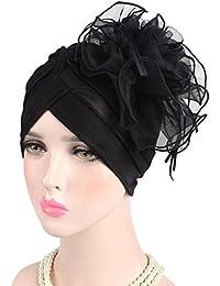 beee7514707aa Samidy Women Lace Flower Turbans Headwear Head Scarf Head wraps Cancer Hats  (Black)