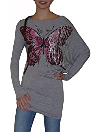 "Asymetrisches Trend Long-Shirt ""A-2187"" Glitzer-Optik S&LU"