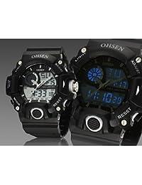 Relojes Hermosos, Negro banda de silicona esfera de un reloj redondo reloj de pulsera de reloj del deporte del salto movimiento de la moda de Japón de los hombres ( Color : Negro )