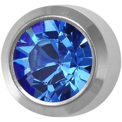 Studex Piercing da orecchio in acciaio inox color argento pietra orecchini grandi 5mm castone–Settembre/Sapphire