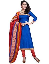 Vibrant Blue Bhagalpuri Silk Straight Suit With Dupatta.