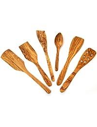 Juego de utensilios cocina madera de olivo, 6 piezas