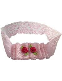 NeedyBee Headband for NewBorn in soft Lace with Rose NHA217PI (Pink)