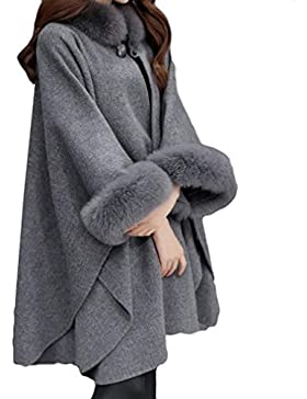Mujeres Manga Larga Chaqueta, Cálido Otoño Invierno Ocasional Capa Abrigos con Botón Moda Color Sólido Loose Fit...