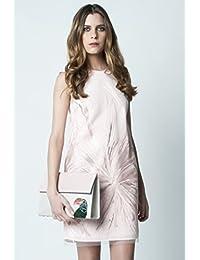 David Christian, vestido corto de tul bordado rosa
