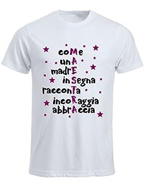 T-Shirt Maglia Donna Bianca Scritta maestra Idea Regalo Anno Scuola