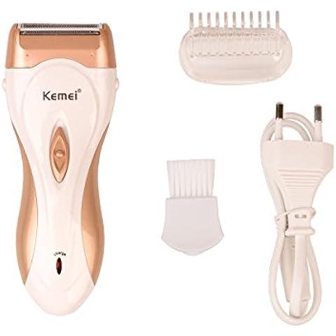 Ckeyin® Afeitadora eléctrica Depilación de Piernas Cuerpo Completo Axila Bikini para Mujer Uso en Húmedo y