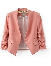 3/4 Ärmel Kragenlos kurzer modisch Fashion Damen Blazer Jacke Bianca (S- EU 34, pink)