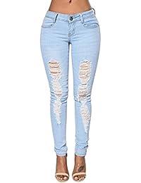 524695eb75fd Mena UK Frauen zerrissenen Ausschnitt Jeans Jeggings Tube Bleistift Jeans
