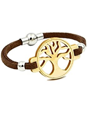 Baum des Lebens - Armband aus Holz - Lederband - Magnetverschluss